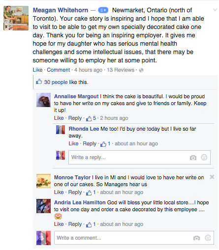 梅杰 Gaines Marketplace is being lauded on Facebook after a user shared story of autistic employee.