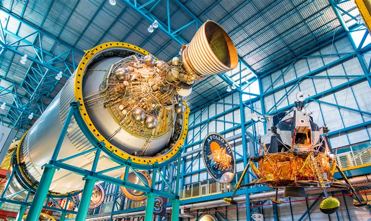 MERRITT ISLAND, FL - 31 July 2016: The first stage engines of the Saturn 5 rocket which is exhibited at the visitor complex of Kennedy Space Center, United States
