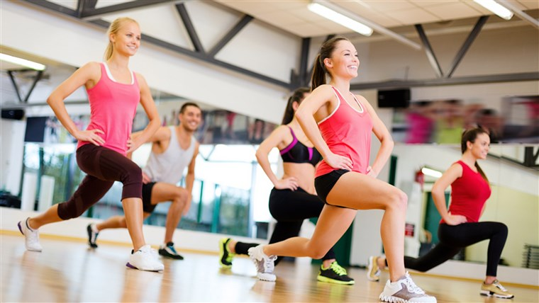 Fitness, sport, training, gym and lifestyle concept - group of smiling people exercising in the gym; Shutterstock ID 164474051; PO: today.com - mish