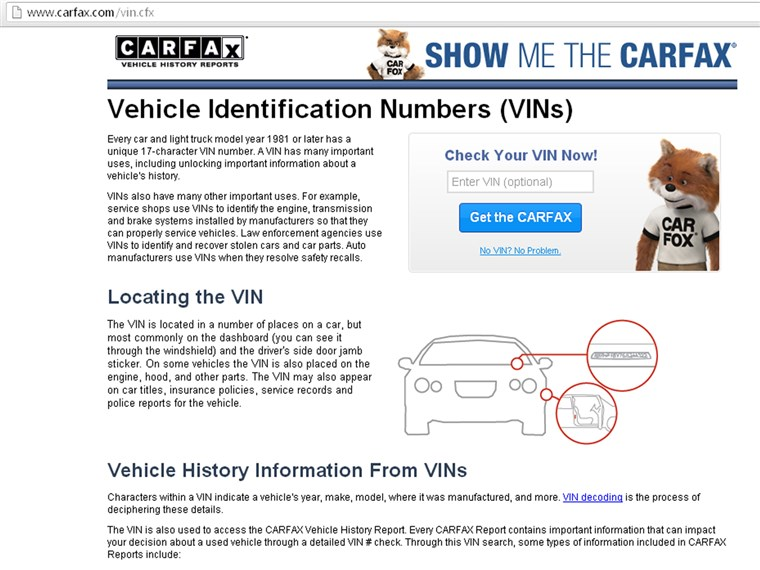 как to find your VIN number on carfax.com.