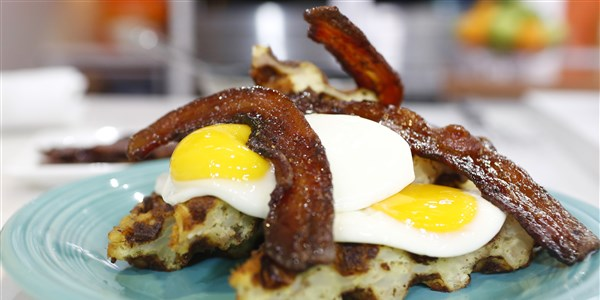Hash Brown Waffle with Fried Egg and Candied Bacon