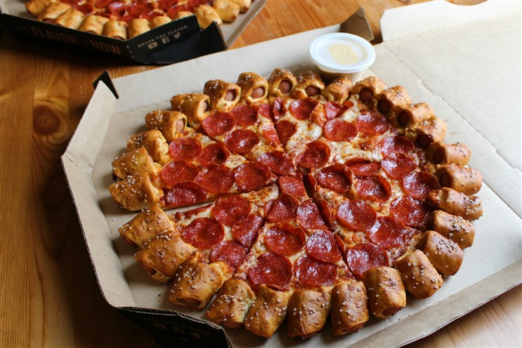 Pizza Hut's pretzel hot dog crust pizza