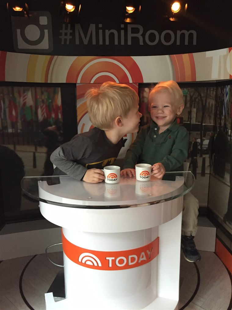 Wyatt and Henry, brothers and best friends, on the TODAY mini-set. Wyatt spent 117 days in the NICU, a traumatic time that still haunts TODAY producer Sarah Clagett.